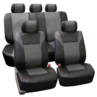 FH Group PU Leather Gray Airbag Compatible Racing Seat Covers (Full Set) (As Is Item)