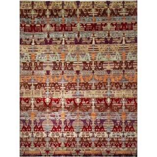 Fine Oushak Asem Red/ Purple Rug (11'11 x 15'2)