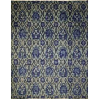 Fine Oushak Balbike Lt. Green/ Ink Blue Rug (11'11 x 14'10)