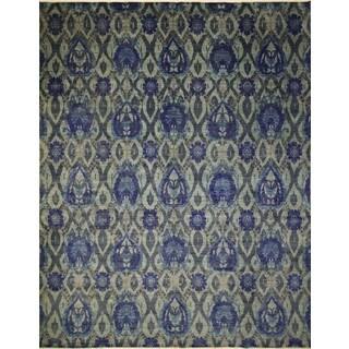 Fine Oushak Balbike Lt. Green/ Ink Blue Rug (11'11 x 14'10) - 11'11 x 14'10