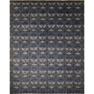 Fine Oushak Bazargul Charcoal/ Blue Rug (11'10 x 14'10)