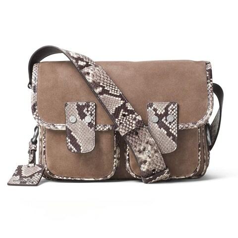 Michael Kors Hewitt Large Embossed-Leather and Suede Dark Dune Crossbody Handbag