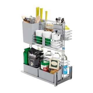 Rok Hardware Cook Agent Chrome-finished Metal Wire and Silver Grey Plastic Pull-out-door-version Base Cabinet Organizer