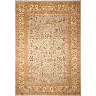 Turkish-knotted Aisaule Lt. Blue/ Gold Rug (9'6 x 13'9)