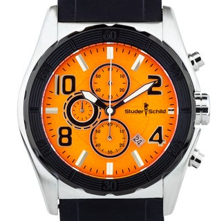 Studer Schild Mens Carver chronograph watch, silicone strap, luminescent hands