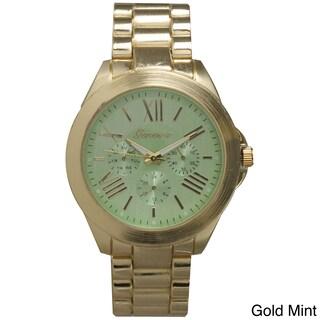 Olivia Pratt Classy 3-Dial Colorful Dial Metal Bracelet Boyfriend Watch (Option: Green)