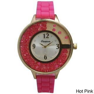 Olivia Pratt Loose Stone Bezel Rhinestone Dial Silicone Band Watch