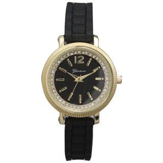 Olivia Pratt Women's Rhinestone Bezel Silicone Band Elegant Round Watch