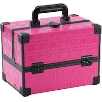 Ikee Design Pink Makeup Travel Carrying Case with Sturdy Aluminum Frame