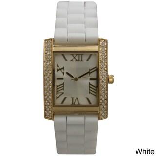 Olivia Pratt Rhinestone Bezel Roman Numeral Silicone Band Rectangular Watch