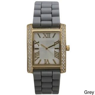 Olivia Pratt Rhinestone Bezel Roman Numeral Silicone Band Rectangular Watch (Option: Grey)