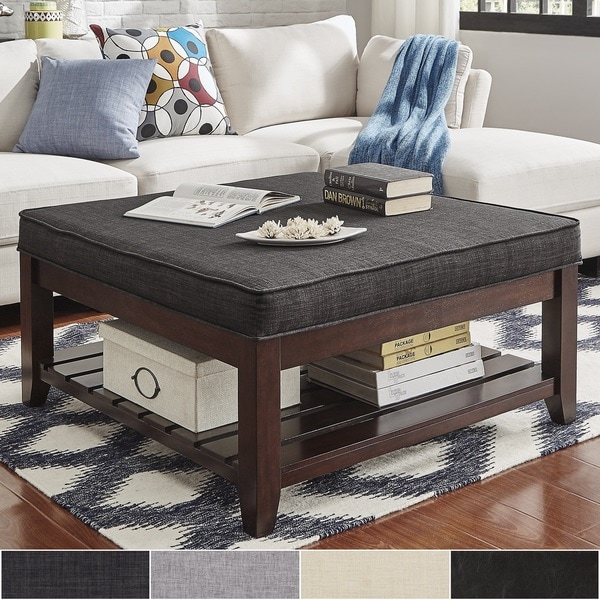 Lennon Espresso Planked Storage Ottoman Coffee Table By Inspire Q Clic