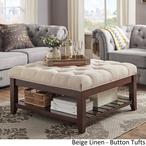 Lennon Espresso Planked Storage Ottoman Coffee Table By INSPIRE Q Classic    Free Shipping Today   Overstock.com   20137484