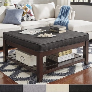 Lennon Espresso Planked Storage Ottoman Coffee Table by TRIBECCA HOME