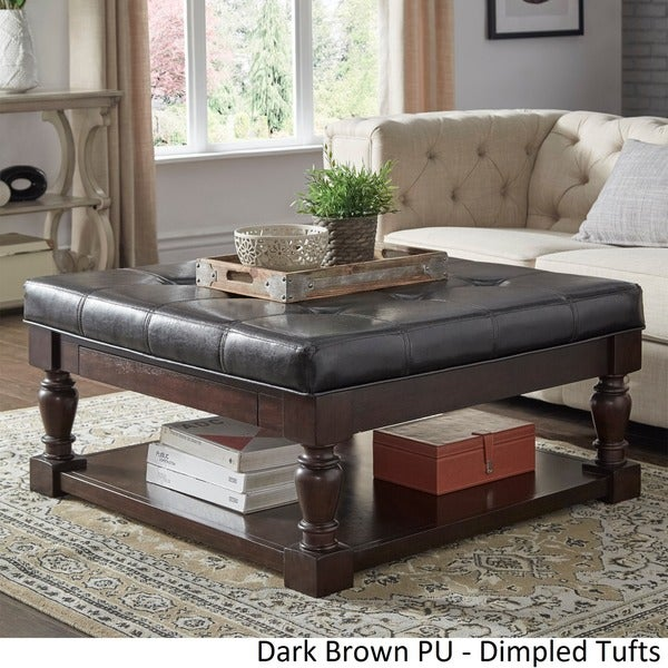 Lennon Baluster Espresso Storage Ottoman Coffee Table By INSPIRE Q Classic    Free Shipping Today   Overstock.com   20137485