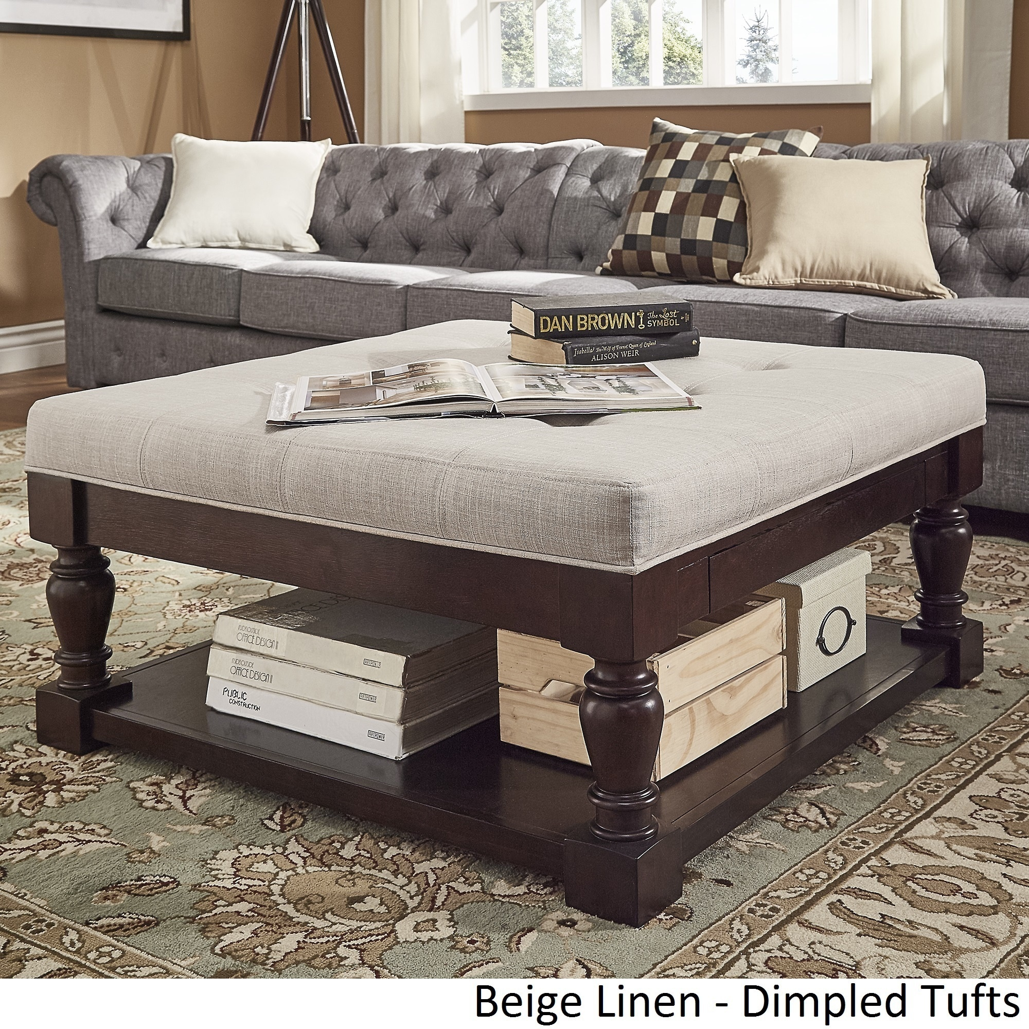 Lennon Baluster Espresso Storage Ottoman Coffee Table By