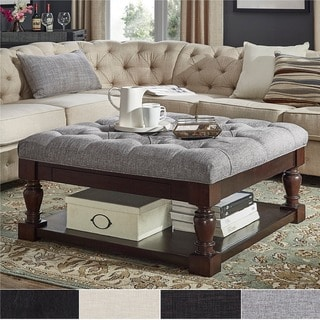 Lennon Baluster Espresso Storage Ottoman Coffee Table by TRIBECCA HOME