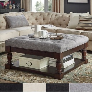 Lennon Baluster Espresso Storage Ottoman Coffee Table by iNSPIRE Q Classic (More options available)
