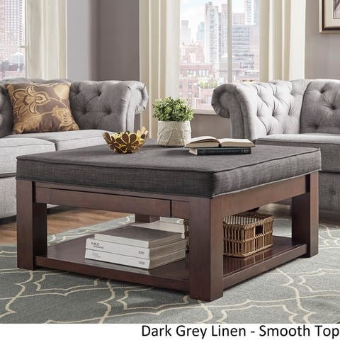 Lennon Espresso Square Storage Ottoman Coffee Table by iNSPIRE Q Classic
