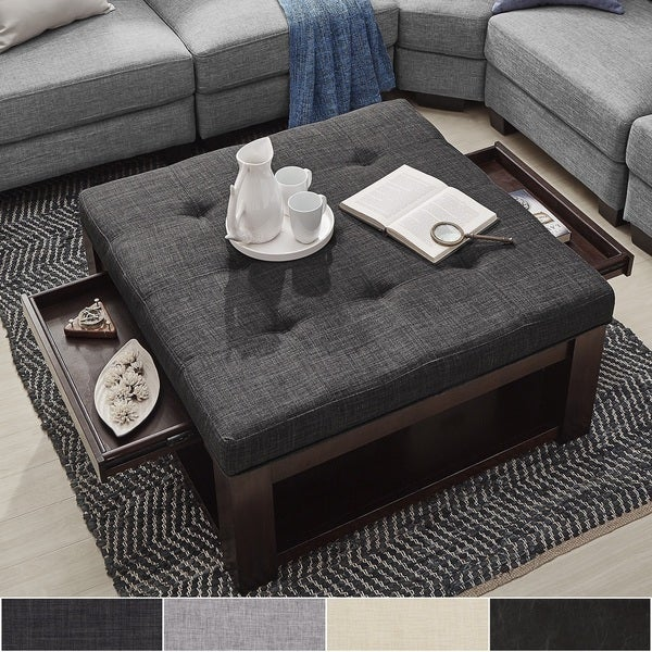 Lennon Espresso Square Storage Ottoman Coffee Table By Inspire Q Clic