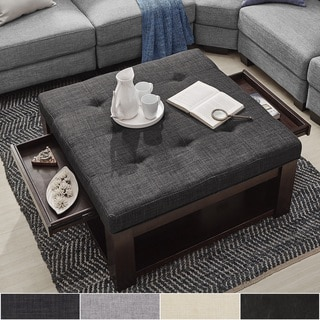 Lennon Espresso Square Storage Ottoman Coffee Table by TRIBECCA HOME