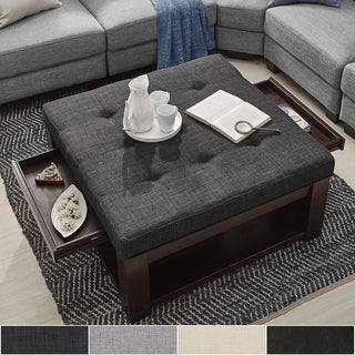 Lennon Espresso Square Storage Ottoman Coffee Table by iNSPIRE Q Classic (More options available)
