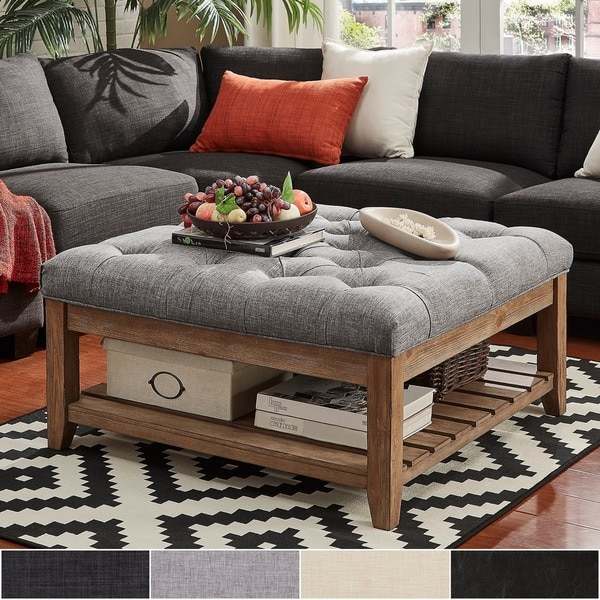 Ottoman Coffee Table With Sliding Wood Top: Shop Lennon Pine Planked Storage Ottoman Coffee Table By
