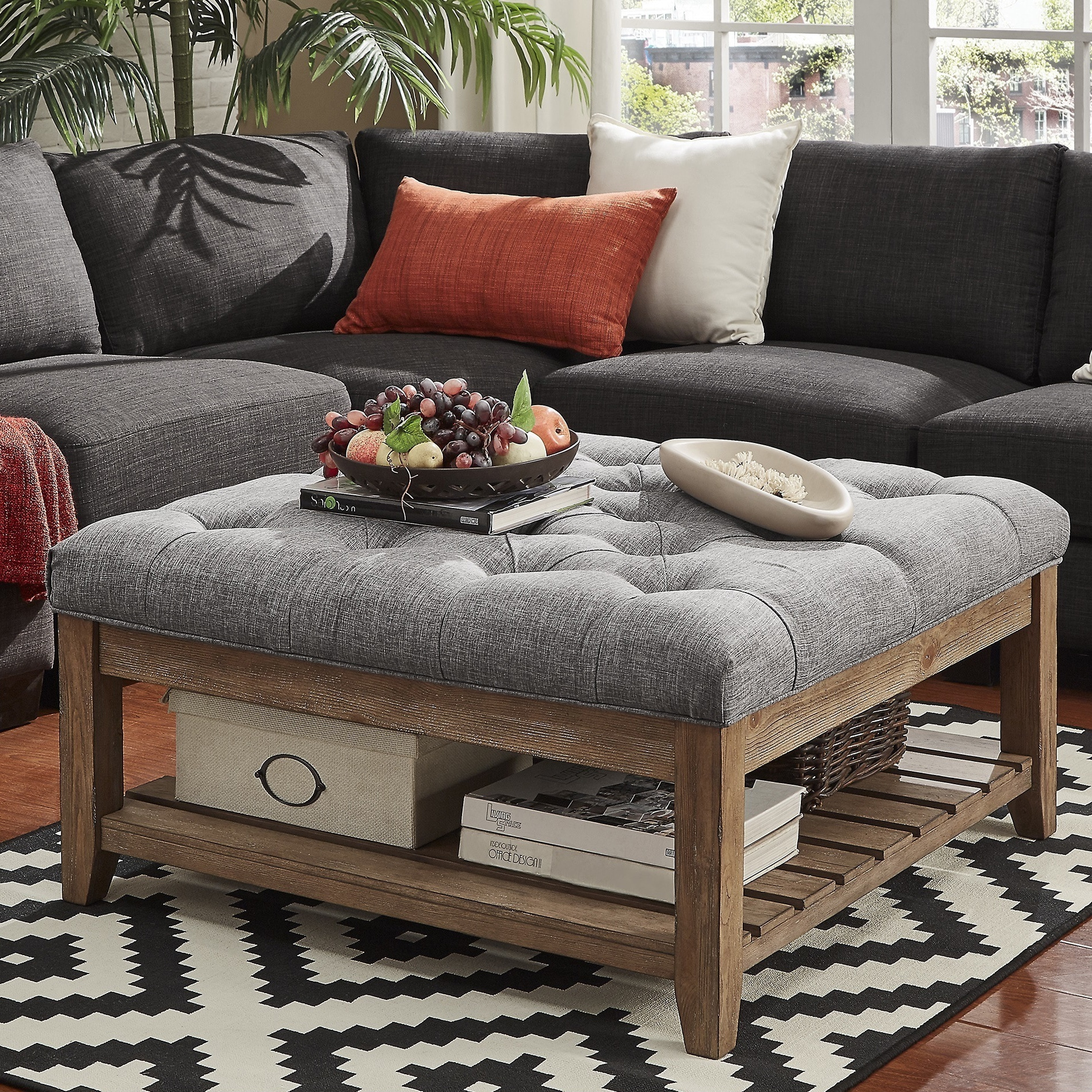 - Shop Lennon Pine Planked Storage Ottoman Coffee Table By INSPIRE Q