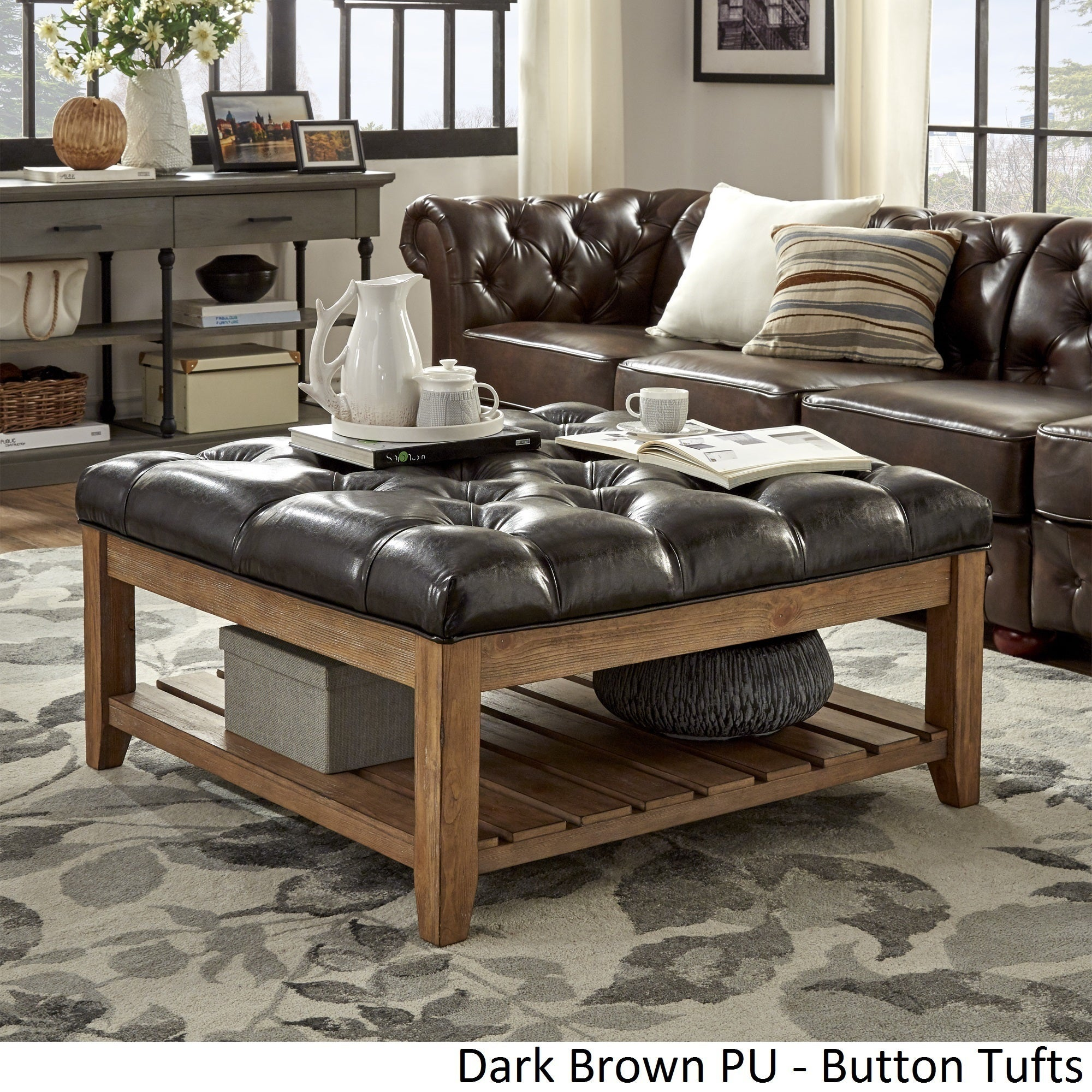 Pine Coffee Table Hull: Lennon Pine Planked Storage Ottoman Coffee Table By