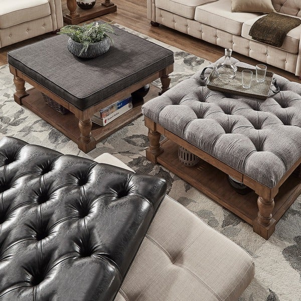 Lennon Baluster Pine Storage Tufted Cocktail Ottoman by TRIBECCA