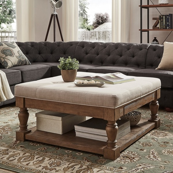 Elements Rubbed Medium Brown Wood Ottoman ~ Lennon baluster pine storage tufted cocktail ottoman by