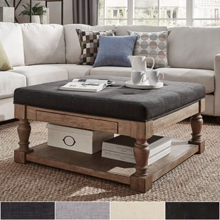 Lennon Baer Pine Storage Tufted Tail Ottoman By Inspire Q