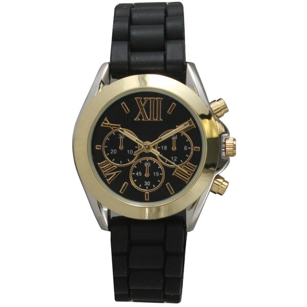 Olivia Pratt Black Metal/Stainless Steel/Silicone 3-dial Band Watch