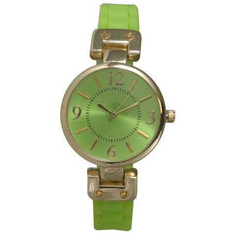 Olivia Pratt Green Stainless Steel and Silicone Band Women's Watch