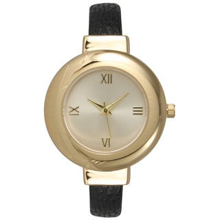 Olivia Pratt Simple and Elegant Women's Goldtone Stainless Steel Roman Numeral Leather Band Bangle Watch