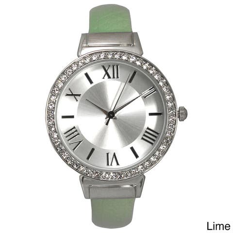 Olivia Pratt Women's Leather Strap Stainless Steel Case Rhinestone Bezel Roman Numeral Dial Bangle Watch