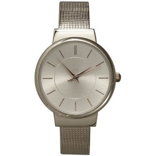 Olivia Pratt Stainless Steel Textured Band Bangle Watch