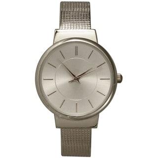 Olivia Pratt Stainless Steel Textured Band Bangle Watch