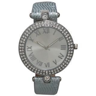 Olivia Pratt Rhinestone Bezel and Metallic Leather Strap Roman Numeral Elegant Watch