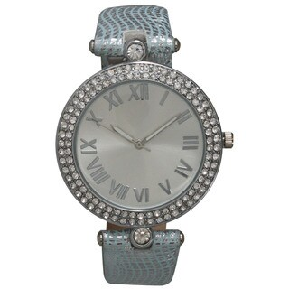 Olivia Pratt Rhinestone Bezel and Metallic Leather Strap Roman Numeral Elegant Watch