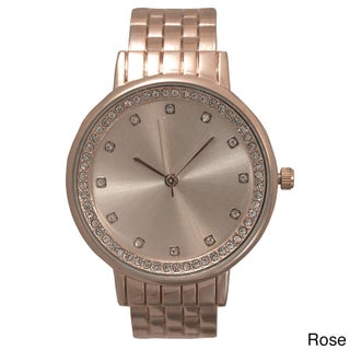 Olivia Pratt Stainless Steel and Rhinestone Bezel Women's Automatic Watch