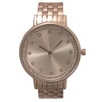 Olivia Pratt Stainless Steel and Rhinestone Bezel Women's Automatic Watch