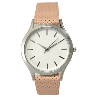 Olivia Pratt Women's Leather Band Minimal Perforated Watch