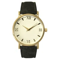 Olivia Pratt Black Leather and Gold-tone Stainless Steel Roman Numeral Watch