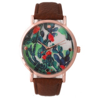 Olivia Pratt Colorful Cactus Dial Leather Band Watch