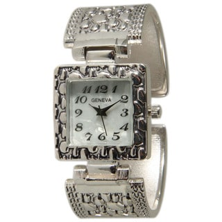 Olivia Pratt Silvertone Stainless Steel Square Bezel Bangle Watch