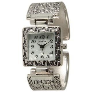 Olivia Pratt Silvertone Stainless Steel Square Bezel Bangle Watch