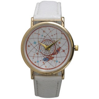 Olivia Pratt Stainless Steel and White Leather Band Women's Dreamcatcher Watch