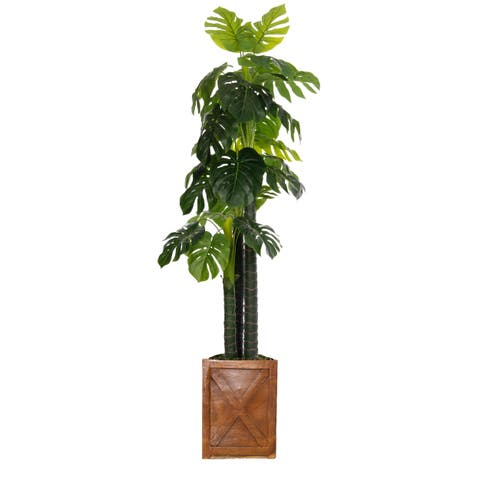 Laura Ashley 81-inch Indoor/Outdoor Monstera Ceriman in Fiberstone Pot
