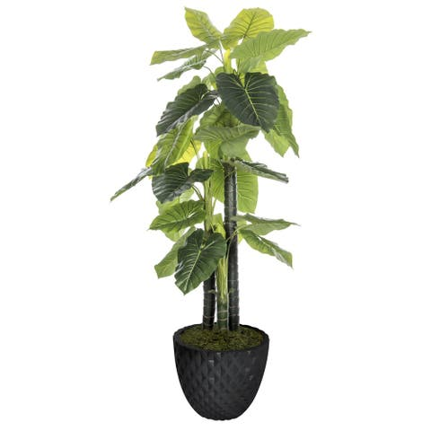 """Artificial 77.6-inch Tall In/Outdoor Elephant Ear Plant in Honeycomb Pot - 77.6"""""""